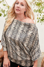 Load image into Gallery viewer, Boat Neck Long Bubble Sleeve Snake Print Knit Top