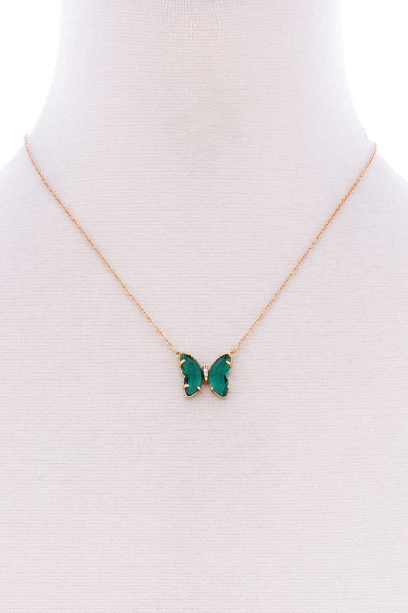 Butterfly Color Stone Pendant Dainty Necklace