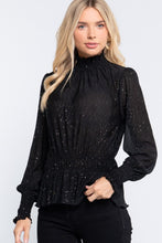 Load image into Gallery viewer, Smocked Sleeve Sparkle Crinlked Top