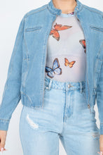Load image into Gallery viewer, Long Sleeves Funnel Neck Denim Jackets