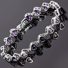 Load image into Gallery viewer, RIZILIA Hearts Tennis Bracelet & Heart Cut CZ [7 Colors Available] in White Gold Plated, 7""