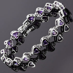 RIZILIA Hearts Tennis Bracelet & Heart Cut CZ [7 Colors Available] in White Gold Plated, 7""