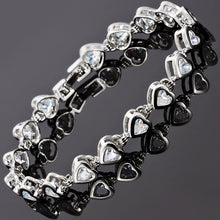 画像をギャラリービューアに読み込む, RIZILIA Hearts Tennis Bracelet & Heart Cut CZ [7 Colors Available] in White Gold Plated, 7""