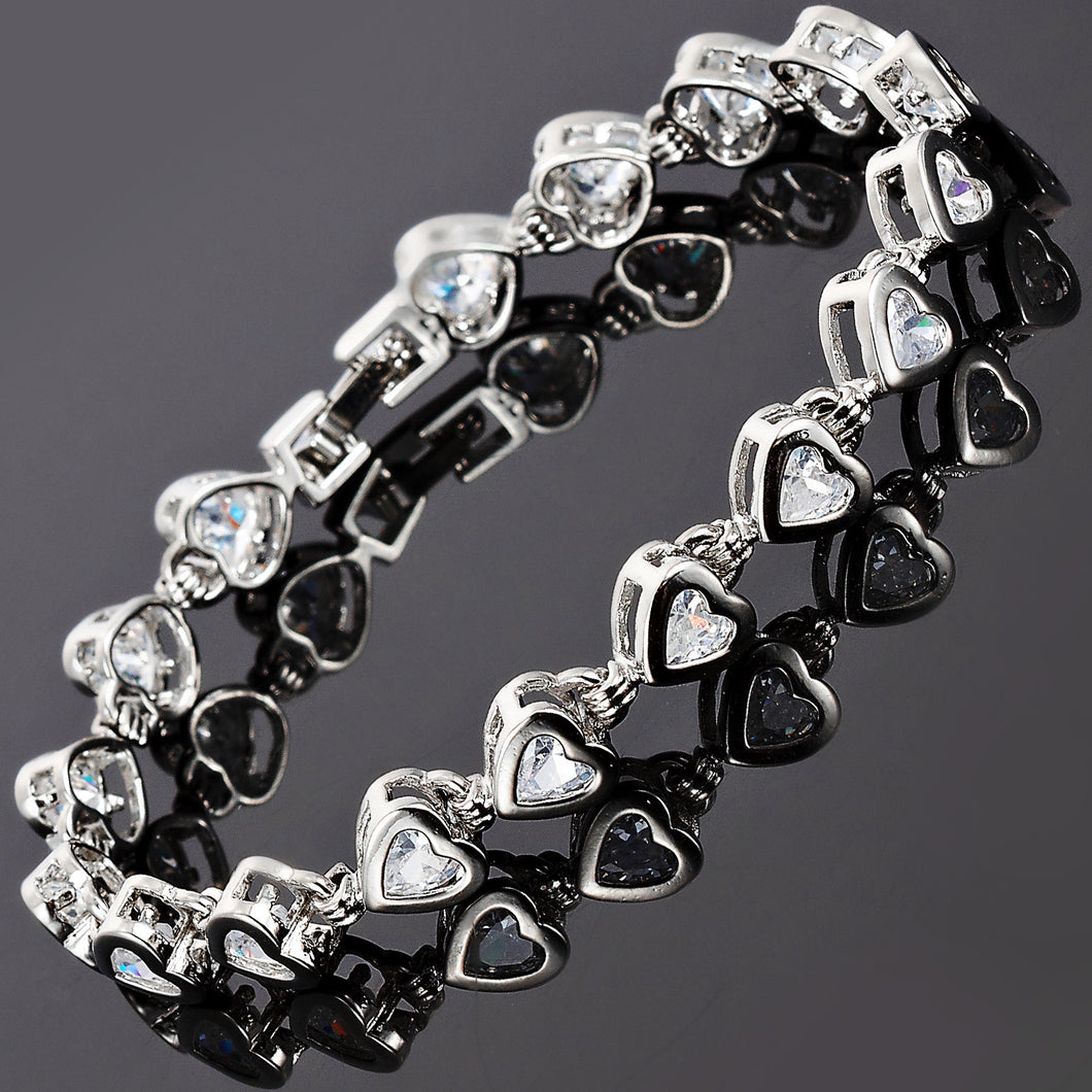 RIZILIA Hearts Tennis Bracelet & Heart Cut CZ [7 Colors Available] in White Gold Plated, 7