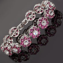 Load image into Gallery viewer, RIZILIA Blossom Tennis Bracelet & Round Cut CZ [5 Colors Available] in White Gold Plated, 7""
