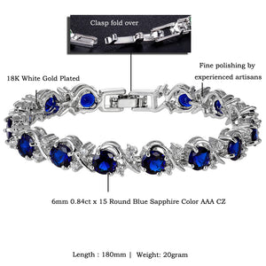 RIZILIA Blossom Tennis Bracelet & Round Cut CZ [6 Colors Available] in White Gold Plated, 7""