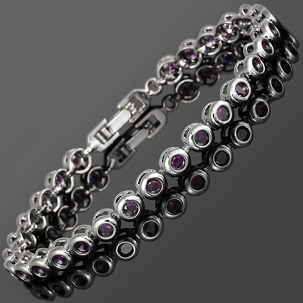 RIZILIA Tennis Bracelet & Round Cut CZ [4 Colors Available] in White Gold Plated, 7