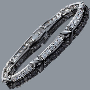 RIZILIA XOXO Link Tennis Bracelet & Round Cut CZ [White Cubic Zirconia] in White Gold Plated, 7""