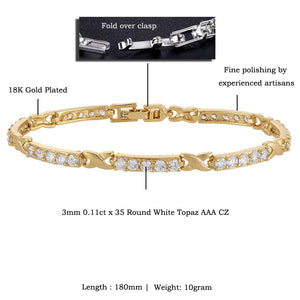 RIZILIA XOXO Link Tennis Bracelet & Round Cut CZ [White Cubic Zirconia] in Yellow Gold Plated, 7""