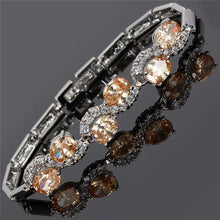 Load image into Gallery viewer, RIZILIA Tennis Bracelet & Oval Cut CZ [6 Colors Available] in White Gold Plated, 7""