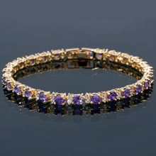 Load image into Gallery viewer, RIZILIA Eternity Tennis Bracelet & Round Cut CZ in Yellow Gold Plated, 7""