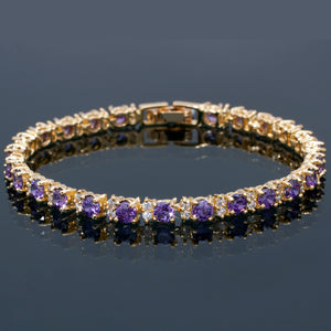 RIZILIA Eternity Tennis Bracelet & Round Cut CZ in Yellow Gold Plated, 7""