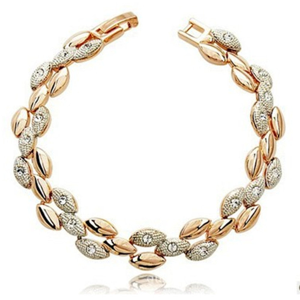 RIZILIA Wheat Shape Tennis Bracelet with Round Cut White Crystal in Yellow Gold Plated, 7
