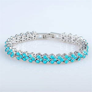 RIZILIA Tennis Bracelet & Round Cut Crystal [5 Colors Available] in White Gold Plated, 6.5""