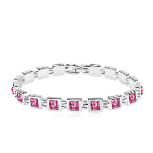 RIZILIA Tennis Bracelet & Princess Cut Crystal [4 Colors Available] in White Gold Plated, 7""