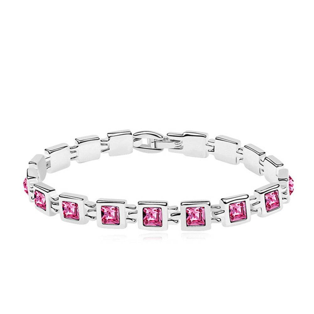 RIZILIA Tennis Bracelet & Princess Cut Crystal [4 Colors Available] in White Gold Plated, 7