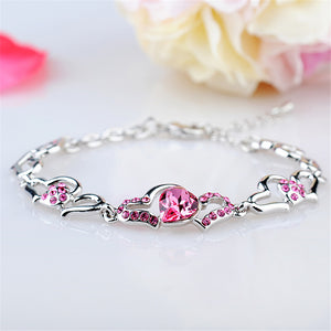 RIZILIA Hearts Adjustable Tennis Bracelet & Heart Cut Crystal [4 Colors Available] in White Gold Plated, Simple Modern Elegant