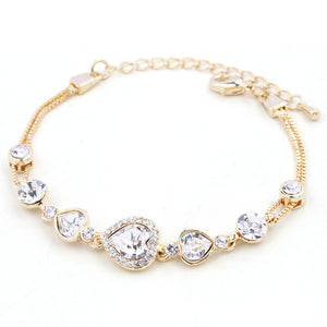 RIZILIA Hearts Adjustable Tennis Bracelet & Heart Cut Crystal [3 Colors Available] in Yellow Gold Plated, Simple Modern Elegant