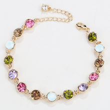 Load image into Gallery viewer, RIZILIA Adjustable Tennis Bracelet & Round Cut Crystal [Multi-Color] in Yellow Gold Plated, Simple Modern Elegant