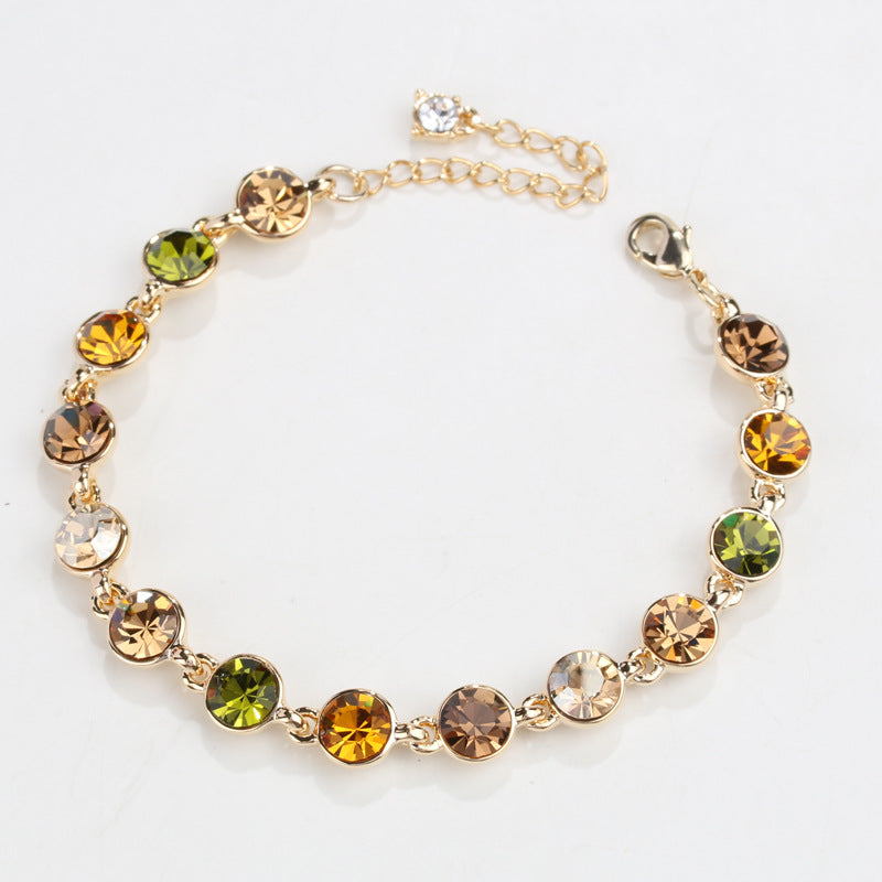 RIZILIA Adjustable Tennis Bracelet & Round Cut Crystal [Multi-Color] in Yellow Gold Plated, Simple Modern Elegant