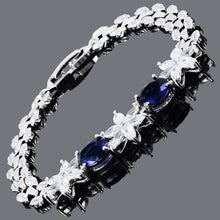 画像をギャラリービューアに読み込む, RIZILIA Oval Cut Multi-Color CZ 18K Gold Plated Tennis Bracelet, 7""