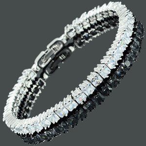RIZILIA [Ice Cube Princess Cut Multi-Color CZ 18K White Gold Plated Tennis Bracelet, 7""