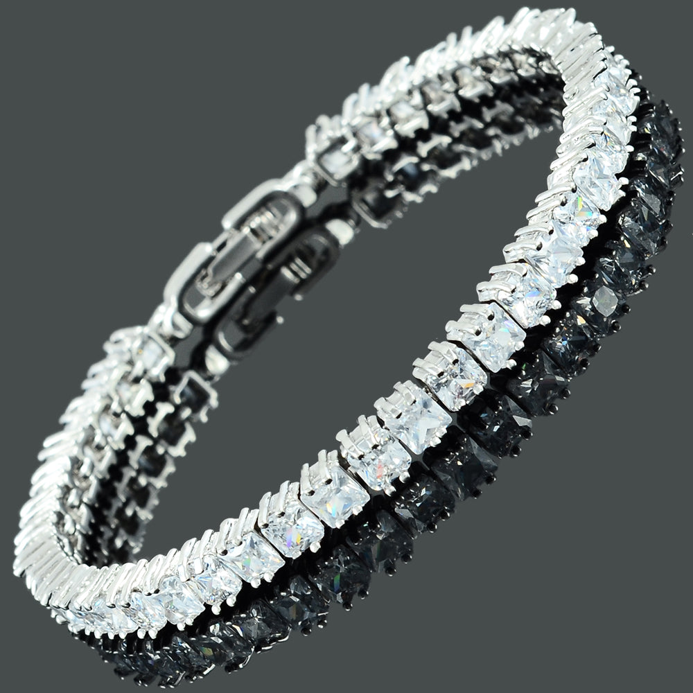 RIZILIA [Ice Cube Princess Cut Multi-Color CZ 18K White Gold Plated Tennis Bracelet, 7