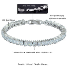 Load image into Gallery viewer, RIZILIA [Ice Cube Princess Cut Multi-Color CZ 18K White Gold Plated Tennis Bracelet, 7""
