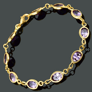 RIZILIA Tennis Bracelet with Oval Cut CZ [6 Colors Available] in Yellow Gold Plated, 7""