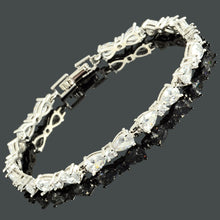 画像をギャラリービューアに読み込む, RIZILIA Women Pear White Cubic Zirconia CZ 18K Gold Plated Flower Tennis Bracelet Chain