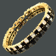 画像をギャラリービューアに読み込む, RIZILIA Ice Cube Princess Cut CZ 18K Yellow Gold Plated Tennis Bracelet, 7""