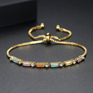 RIZILIA Emerald Cut Multi-Color Cubic Zirconia CZ 18K Yellow Gold Plated Adjustable Tennis Bracelet
