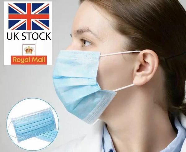 Disposable Face Masks Hygienic Anti Bacterial Face Cover Virus Protection. Packs of 5, 10, 20 and 50
