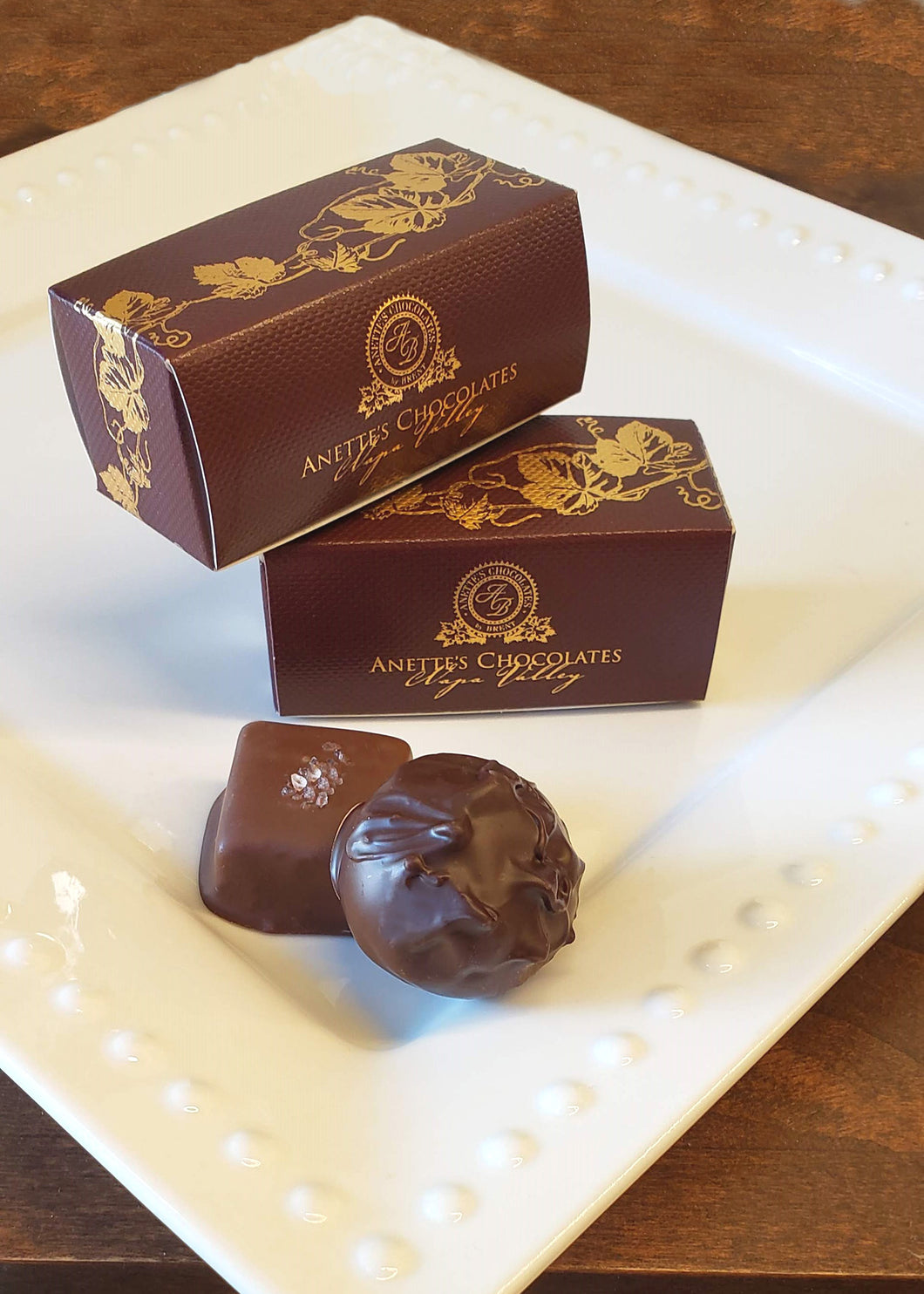 2 piece box with Himalayan Salted caramel and Winter Cabernet truffle