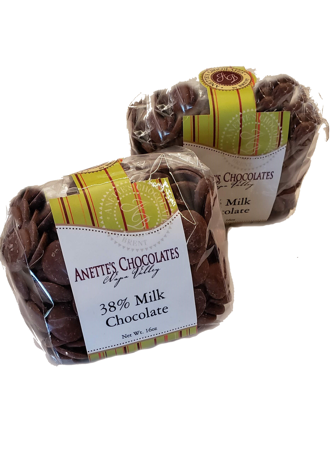 One pound bag of 38% chocolate disks