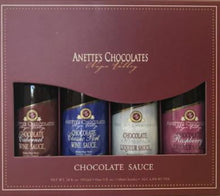 Load image into Gallery viewer, mini chocolate sauce gift pack 4 bottles, 5 ounces each, chocolate cabernet, chocolate classic port wine, chocolate amaretto, chocolate raspberry liqueur