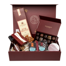 Load image into Gallery viewer, Large Decadence Gift Box with Truffles, Brittles, Flips, Sauce, disks