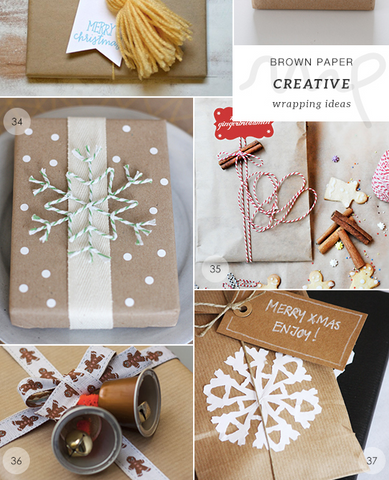 hand decorated wrapping paper using kraft and string