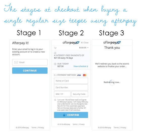 afterpay checkout online at rainbows and clover 3 stages shop now pay later