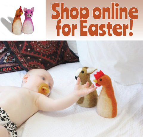 Shop online this EAster at Rainbows and Clover ethically made gifts, toys and decor