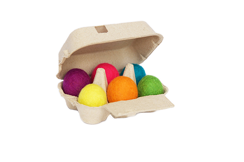 6-pack of rainbow eggs-felt balls-Rainbows and Clover-Rainbows and Clover