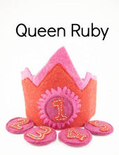 Load image into Gallery viewer, Birthday crowns 1-5 years-crowns-Rainbows and Clover-Queen Ruby-Rainbows and Clover