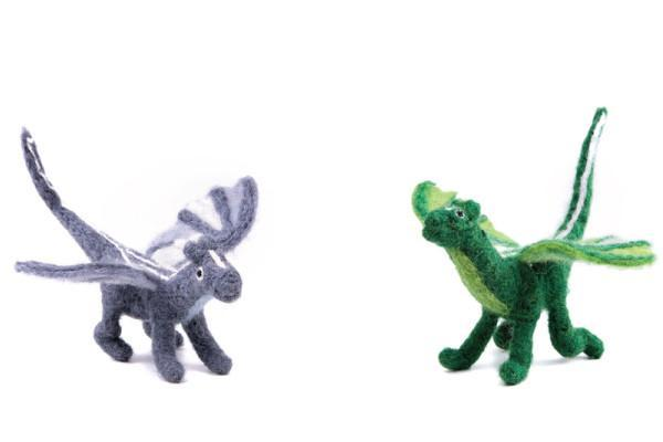 Dragon Set of two-dragons-Rainbows and Clover-Forest and Grey Dragon Set-Rainbows and Clover