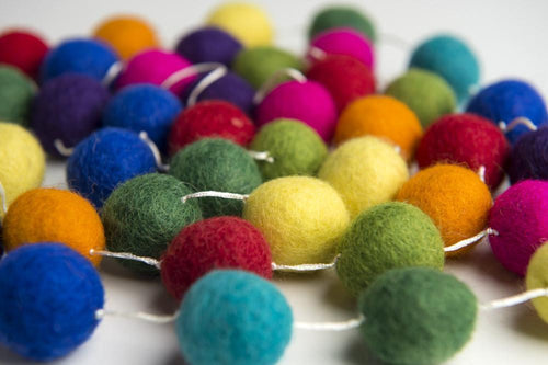 Felt ball garland - choice of colour-garlands-Rainbows and Clover-berry bubble-Rainbows and Clover