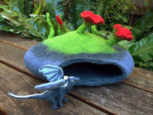 Felt fairy caves & dragon dens-fairy dragon house-Rainbows and Clover-Red poppy funghi-Rainbows and Clover