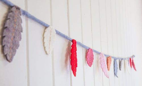 Felt feather garland-garlands-Rainbows and Clover-Galah - greys, cream, pink, peach, red-Rainbows and Clover