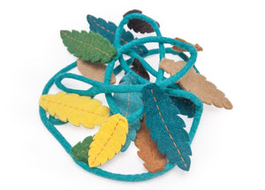 Felt feather garland-garlands-Rainbows and Clover-Mulga - teals, green, yellow, charcoal, browns-Rainbows and Clover
