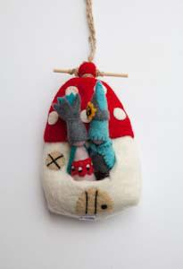 Felt hanging home-hanging homes-Rainbows and Clover-toadstool & gnomes-Rainbows and Clover