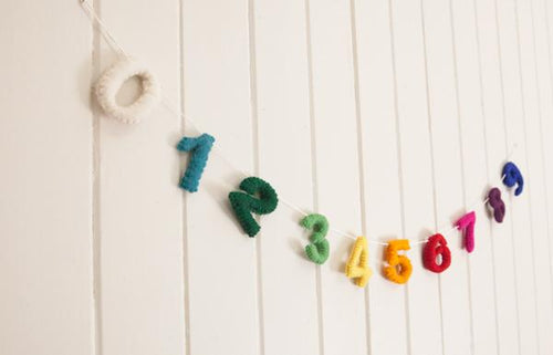 Felt numbers garland 0-9-garlands-Rainbows and Clover-Rainbow-Rainbows and Clover