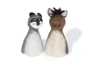 Felt puppet :: sets of 2-puppets-Rainbows and Clover-cat & horse-Rainbows and Clover